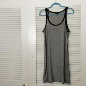 Ralph Lauren Blk/Wht Striped Tank Dress Size L